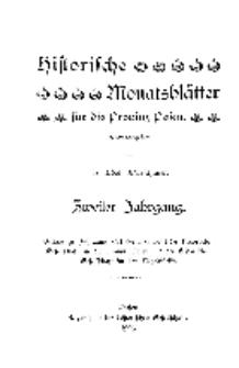 Historische Monatsblätter für die Provinz Posen, Jg. 2, 1901, Nr 1.