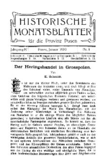 Historische Monatsblätter für die Provinz Posen, Jg. 4, 1903, Nr 1.