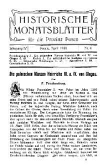 Historische Monatsblätter für die Provinz Posen, Jg. 4, 1903, Nr 4.