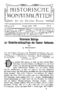 Historische Monatsblätter für die Provinz Posen, Jg. 4, 1903, Nr 6.