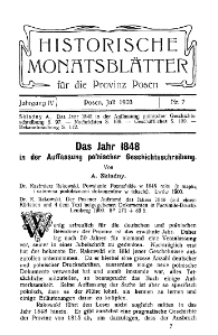 Historische Monatsblätter für die Provinz Posen, Jg. 4, 1903, Nr 7.