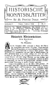 Historische Monatsblätter für die Provinz Posen, Jg. 5, 1904, Nr 2.