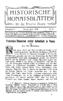 Historische Monatsblätter für die Provinz Posen, Jg. 5, 1904, Nr 6.