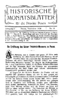 Historische Monatsblätter für die Provinz Posen, Jg. 5, 1904, Nr 11.