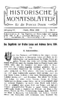 Historische Monatsblätter für die Provinz Posen, Jg. 6, 1905, Nr 3.