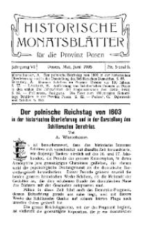 Historische Monatsblätter für die Provinz Posen, Jg. 6, 1905, Nr 5/6.