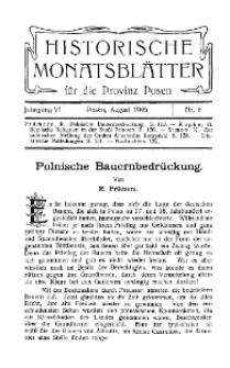 Historische Monatsblätter für die Provinz Posen, Jg. 6, 1905, Nr 8.