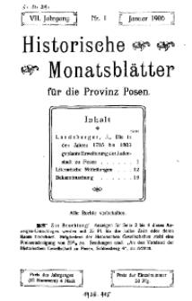 Historische Monatsblätter für die Provinz Posen, Jg. 7, 1906, Nr 1.