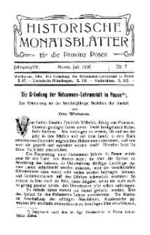 Historische Monatsblätter für die Provinz Posen, Jg. 7, 1906, Nr 7.