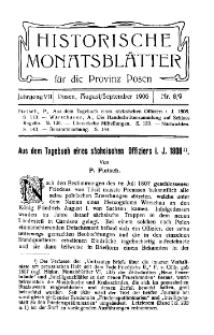 Historische Monatsblätter für die Provinz Posen, Jg. 7, 1906, Nr 8/9.