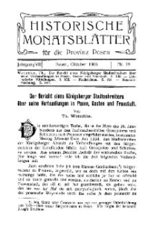 Historische Monatsblätter für die Provinz Posen, Jg. 7, 1906, Nr 19 [właśc. 10].