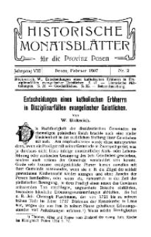 Historische Monatsblätter für die Provinz Posen, Jg. 8, 1907, Nr 2.