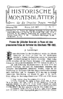 Historische Monatsblätter für die Provinz Posen, Jg. 8, 1907, Nr 7.