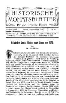 Historische Monatsblätter für die Provinz Posen, Jg. 8, 1907, Nr 9.