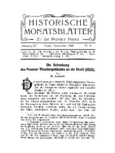 Historische Monatsblätter für die Provinz Posen, Jg. 9, 1908, Nr 9.