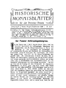 Historische Monatsblätter für die Provinz Posen, Jg. 10, 1909, Nr 8/9.