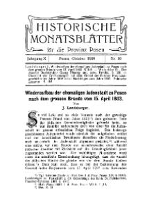 Historische Monatsblätter für die Provinz Posen, Jg. 10, 1909, Nr 10.