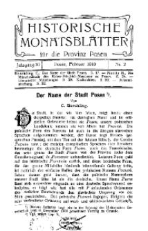 Historische Monatsblätter für die Provinz Posen, Jg. 11, 1910, Nr 2.