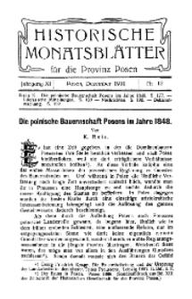 Historische Monatsblätter für die Provinz Posen, Jg. 11, 1910, Nr 12.