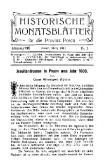 Historische Monatsblätter für die Provinz Posen, Jg. 12, 1911, Nr 3.