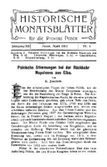 Historische Monatsblätter für die Provinz Posen, Jg. 12, 1911, Nr 4.