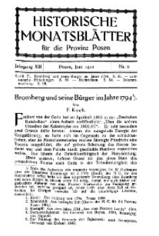 Historische Monatsblätter für die Provinz Posen, Jg. 13, 1912, Nr 6.