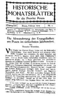 Historische Monatsblätter für die Provinz Posen, Jg. 14, 1913, Nr 2.