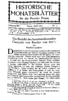 Historische Monatsblätter für die Provinz Posen, Jg. 14, 1913, Nr 4.