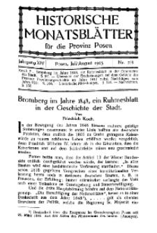 Historische Monatsblätter für die Provinz Posen, Jg. 14, 1913, Nr 7/8.