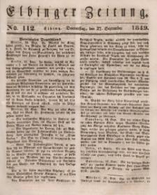 Elbinger Zeitung, No. 112 Donnerstag, 27. September 1849