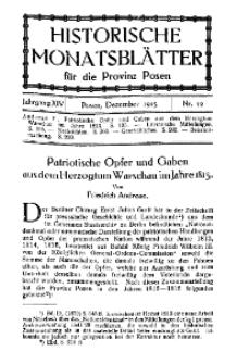 Historische Monatsblätter für die Provinz Posen, Jg. 14, 1913, Nr 12.