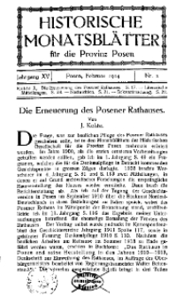 Historische Monatsblätter für die Provinz Posen, Jg. 15, 1914, Nr 2.