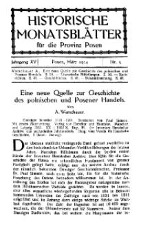 Historische Monatsblätter für die Provinz Posen, Jg. 15, 1914, Nr 3.