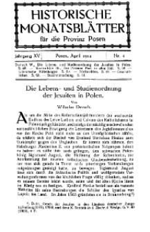 Historische Monatsblätter für die Provinz Posen, Jg. 15, 1914, Nr 4.