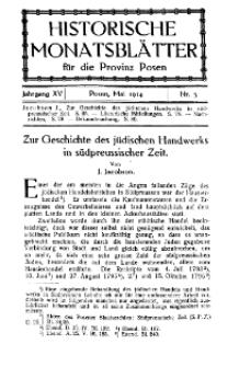 Historische Monatsblätter für die Provinz Posen, Jg. 15, 1914, Nr 5.