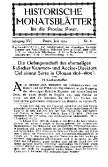 Historische Monatsblätter für die Provinz Posen, Jg. 15, 1914, Nr 6.