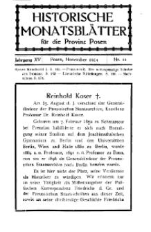 Historische Monatsblätter für die Provinz Posen, Jg. 15, 1914, Nr 11.
