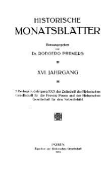 Historische Monatsblätter für die Provinz Posen, Jg. 16, 1915, Nr 1.