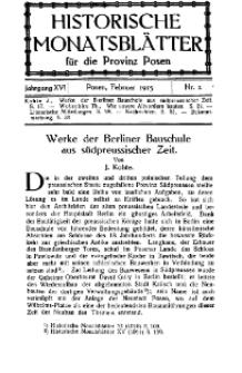 Historische Monatsblätter für die Provinz Posen, Jg. 16, 1915, Nr 2.