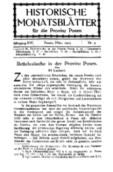 Historische Monatsblätter für die Provinz Posen, Jg. 16, 1915, Nr 3.