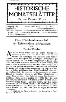 Historische Monatsblätter für die Provinz Posen, Jg. 16, 1915, Nr 5.