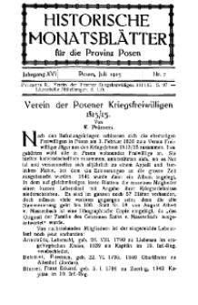 Historische Monatsblätter für die Provinz Posen, Jg. 16, 1915, Nr 7.