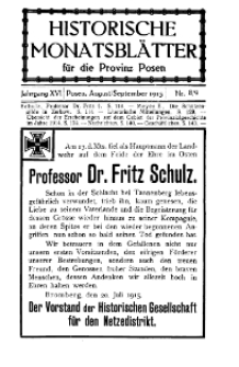 Historische Monatsblätter für die Provinz Posen, Jg. 16, 1915, Nr 8/9.