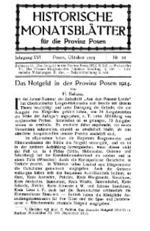 Historische Monatsblätter für die Provinz Posen, Jg. 16, 1915, Nr 10.