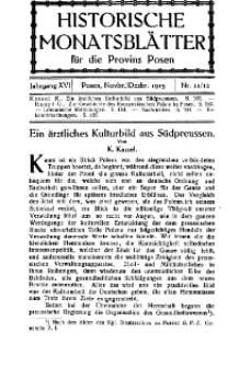 Historische Monatsblätter für die Provinz Posen, Jg. 16, 1915, Nr 11/12.