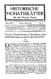 Historische Monatsblätter für die Provinz Posen, Jg. 17, 1916, Nr 4.