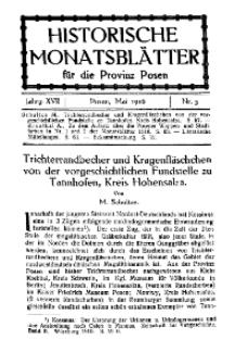Historische Monatsblätter für die Provinz Posen, Jg. 17, 1916, Nr 5.