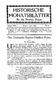 Historische Monatsblätter für die Provinz Posen, Jg. 17, 1916, Nr 6.