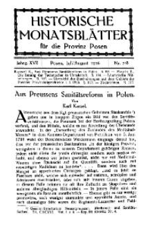 Historische Monatsblätter für die Provinz Posen, Jg. 17, 1916, Nr 7/8.