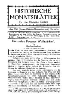 Historische Monatsblätter für die Provinz Posen, Jg. 17, 1916, Nr 10/11.